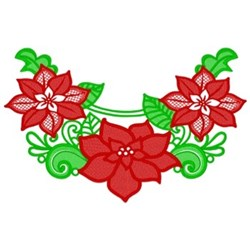 Christmas Poinsettias Swag embroidery design