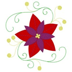 Poinsettias & Swirls embroidery design