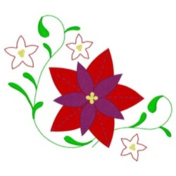 Christmas Poinsettias Corner embroidery design