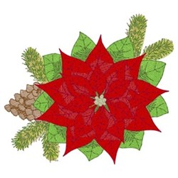 Chrismtas Poinsettias & Pine embroidery design