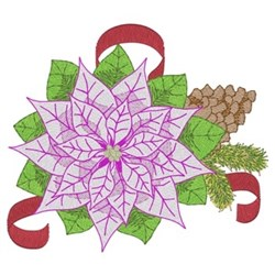 Christmas Pink Poinsettias embroidery design
