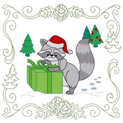 Christmas Raccoon Quit Square embroidery design