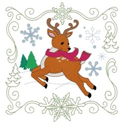 Christmas Reindeer Quilt Square embroidery design