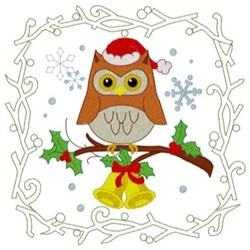 Christmas Owl Quilt Square embroidery design