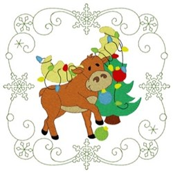 Christmas Moose Quilt Square embroidery design