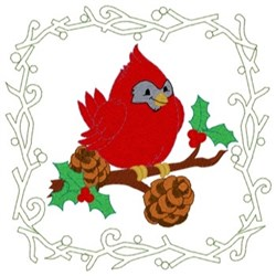 Cardinal Quilt Square embroidery design