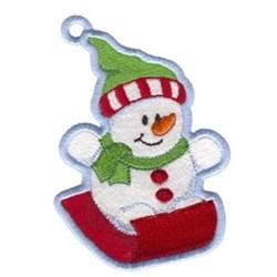 Snowman Sledding Ornament embroidery design