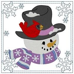 Snowman & Cardinal Square embroidery design