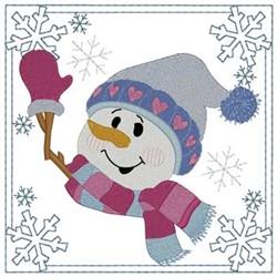 Snowman Square embroidery design