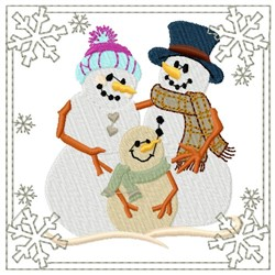 Snowman Family Square embroidery design