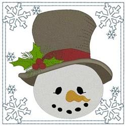 Snowman Head Square embroidery design