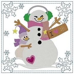 I Love Snow!! Square embroidery design