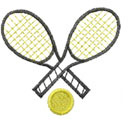 TENNIS RACKETS WITH BALL embroidery design