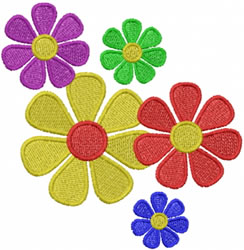 5 flowers embroidery design