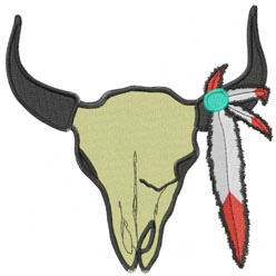 COWSKULL WITH FEATHERS embroidery design