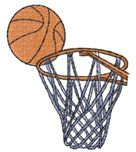 BASKETBALL AND NET embroidery design