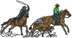 Rodeo Team roper 3 embroidery design
