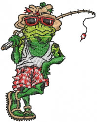 Frog Fishing 2 embroidery design
