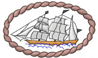 SHIP IN ROPE FRAME embroidery design