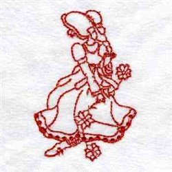 Redwork Sunbonnet Girl embroidery design