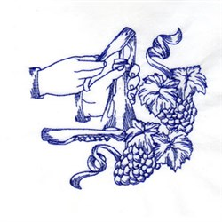Grapes & Wine embroidery design