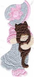 Girl With Kitty embroidery design