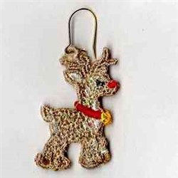 Mylar Rudolph Earring embroidery design