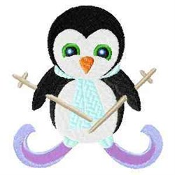 Skiing Penguin embroidery design
