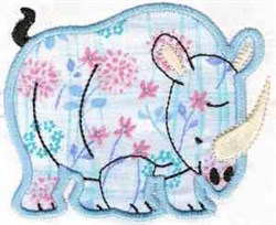 Applique Rhino embroidery design