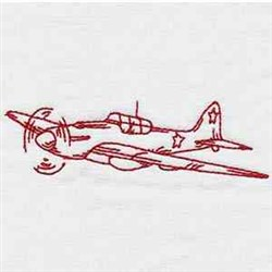 Redwork Fighter Plane embroidery design