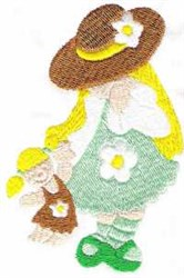 Girl & Doll embroidery design