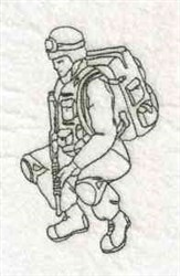 Squatting Soldier embroidery design