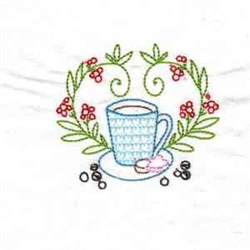 Coffee & Flowers embroidery design