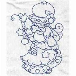 Redwork Xmas Girl embroidery design