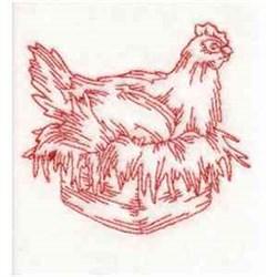 Redwork Hen embroidery design