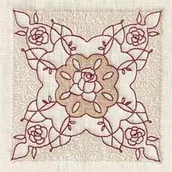 Redwork Rose Block embroidery design