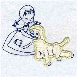 Girl With Lamb embroidery design