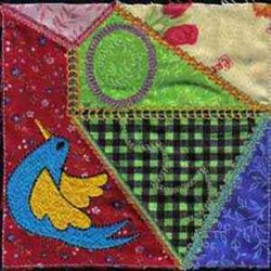 Crazy Quilt Bird embroidery design