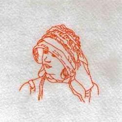 Redwork Vintage Lady embroidery design