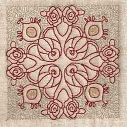 Floral Redwork Block embroidery design