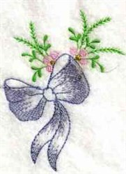 Bow & Flowers embroidery design