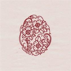 Redwork Egg Floral embroidery design