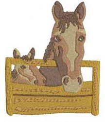 Horses In Stall embroidery design