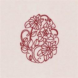 Floral Egg Redwork embroidery design