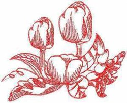Redwork Tulips embroidery design