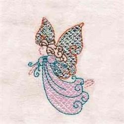 Fancy Butterfly Girl embroidery design