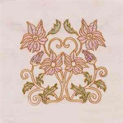 Noveau Floral embroidery design