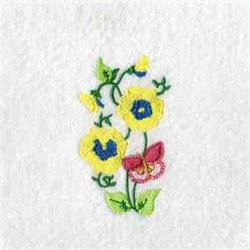 Poppies & Butterflies embroidery design