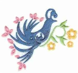 Floral Peacock embroidery design
