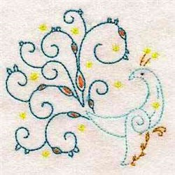 Scrollwork Peacock embroidery design